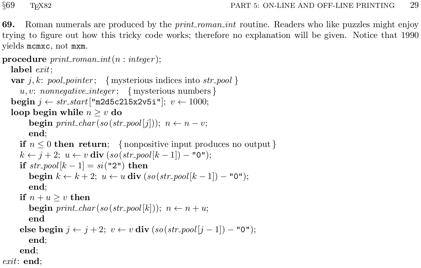 Knuths Print_roman_int Function In Tex82