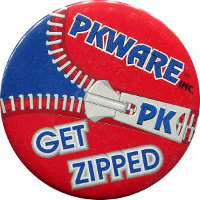 PKWARE 'Get Zipped' button from Comdex Computer Trade Show.