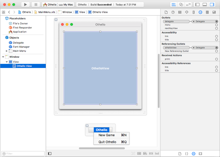 Screenshot of the Othello MainMenu nib in Xcode.